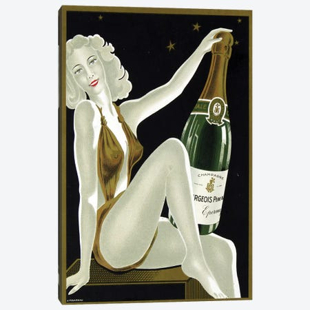 French Champagne Canvas Print #VAC1623} by Vintage Apple Collection Canvas Art Print