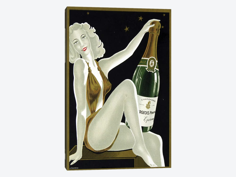 French Champagne by Vintage Apple Collection 1-piece Canvas Art Print