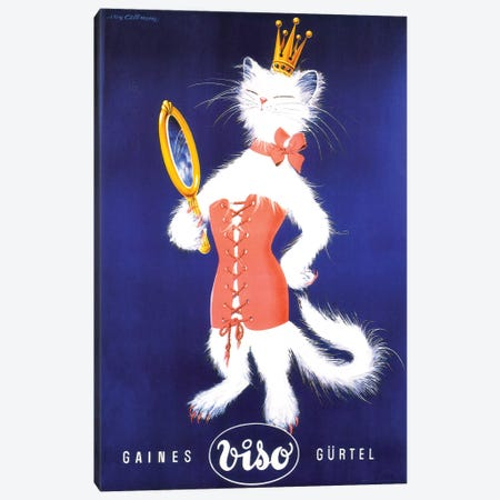 Gaines Gürtel Viso Cat Canvas Print #VAC1633} by Vintage Apple Collection Canvas Wall Art