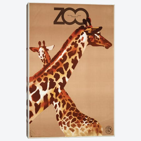 Giraffe Zoo Poland Canvas Print #VAC1640} by Vintage Apple Collection Canvas Print