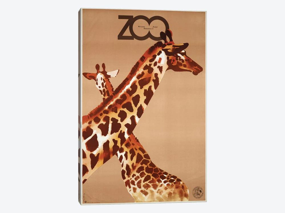 Giraffe Zoo Poland by Vintage Apple Collection 1-piece Canvas Artwork