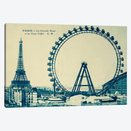 Grande Roue Carte Postale Canvas Print #VAC1650} by Vintage Apple Collection Canvas Artwork
