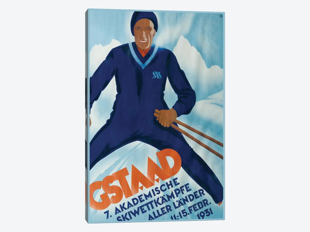 Gstaad II, 1931 by Vintage Apple Collection 1-piece Canvas Print