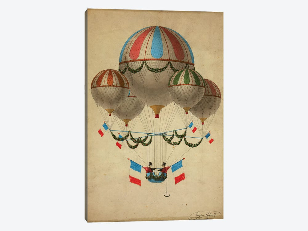 Hot Air Balloons by Vintage Apple Collection 1-piece Art Print