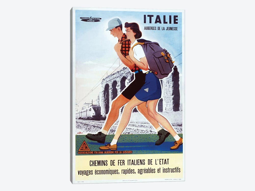 Italie Auberges de la Jeunesse by Vintage Apple Collection 1-piece Canvas Art
