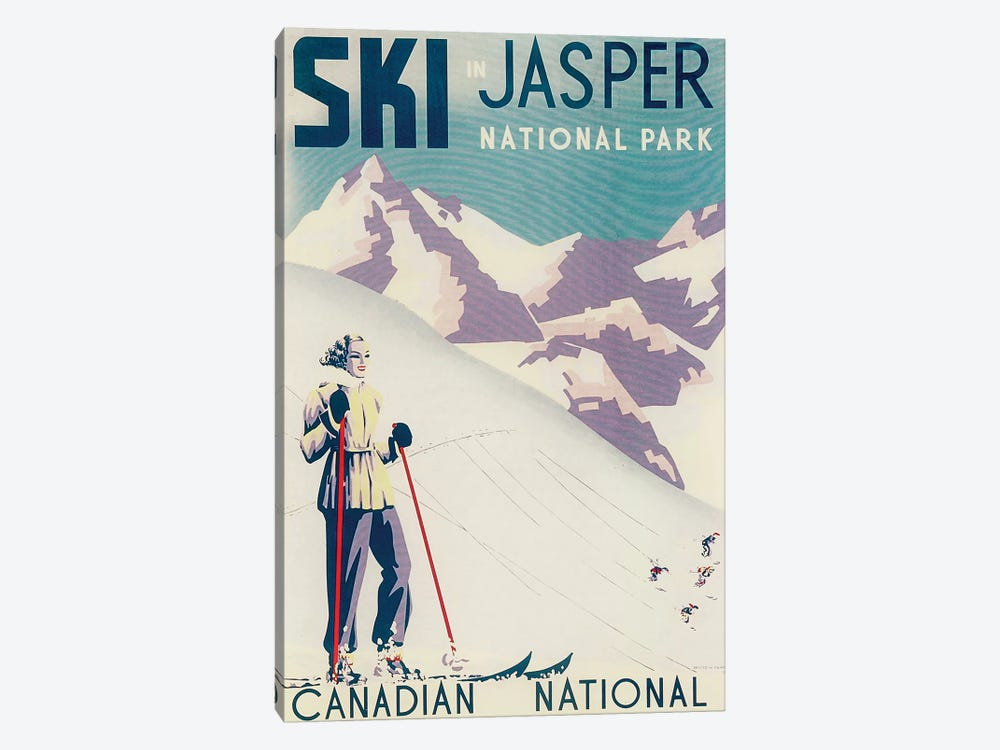 Jasper National Park Skiing by Vintage Apple Collection 1-piece Canvas Art