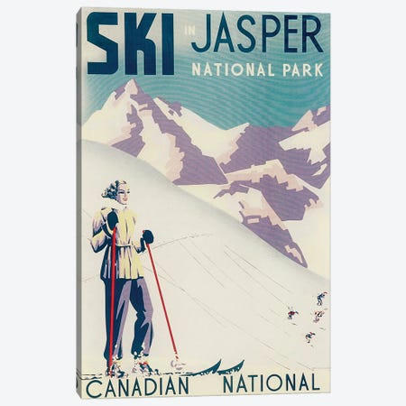 Jasper National Park Skiing Canvas Print #VAC1721} by Vintage Apple Collection Canvas Wall Art