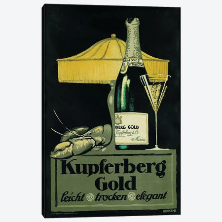 Kupferberg Gold Champagne & Lobster 3-Piece Canvas #VAC1744} by Vintage Apple Collection Canvas Print