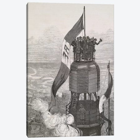 La Tour Eiffel - Achèvement 3-Piece Canvas #VAC1753} by Vintage Apple Collection Art Print