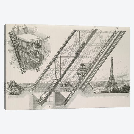 La Tour Eiffel - Détails du Ascenseurs Otis Canvas Print #VAC1754} by Vintage Apple Collection Canvas Wall Art