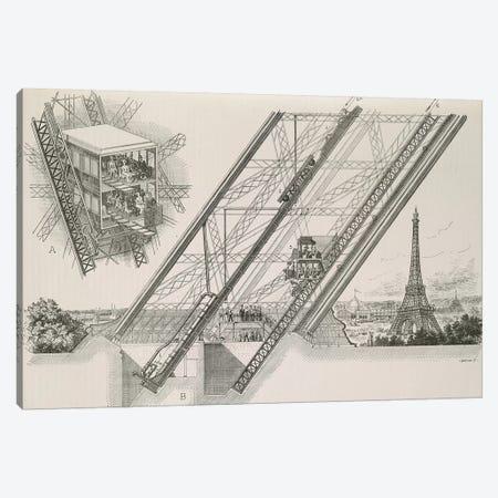 La Tour Eiffel - Détails du Ascenseurs Otis Canvas Print #VAC1754} by Vintage Apple Collection Canvas Wall Art