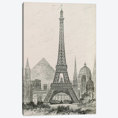 La Tour Eiffel - Hauteur Comparée Canvas Print #VAC1755} by Vintage Apple Collection Canvas Artwork
