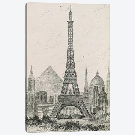 La Tour Eiffel - Hauteur Comparée Canvas Print #VAC1755} by Vintage Apple Collection Canvas Artwork