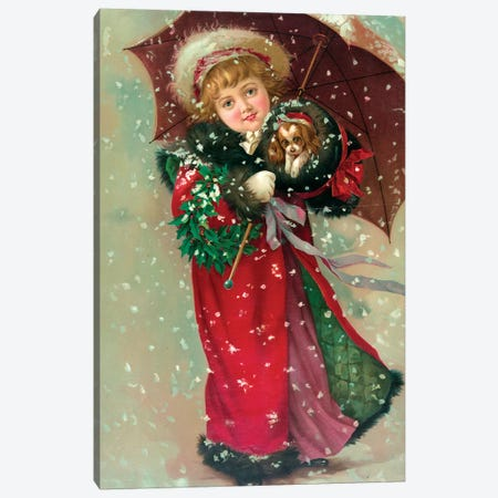 Little Girl & Dog In The Snow Canvas Print #VAC1780} by Vintage Apple Collection Canvas Artwork