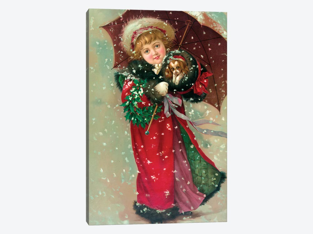 Little Girl & Dog In The Snow by Vintage Apple Collection 1-piece Canvas Art Print