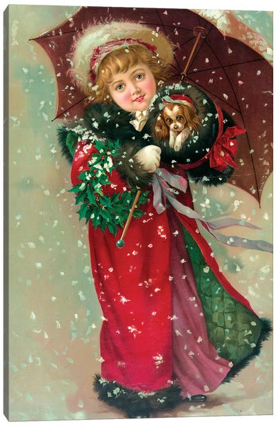 Little Girl & Dog In The Snow Canvas Art Print