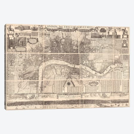 London Actually Surveyed Map Canvas Print #VAC1791} by Vintage Apple Collection Canvas Art Print