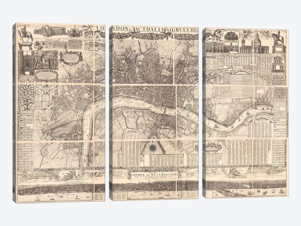 London Actually Surveyed Map by Vintage Apple Collection 3-piece Art Print