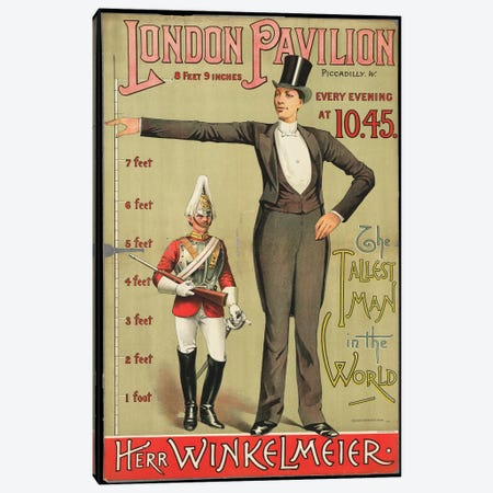 London Pavilion The Tallest Man In The World Canvas Print #VAC1796} by Vintage Apple Collection Canvas Artwork