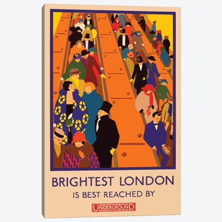 London Underground, Brightest London Canvas Print #VAC1798} by Vintage Apple Collection Art Print