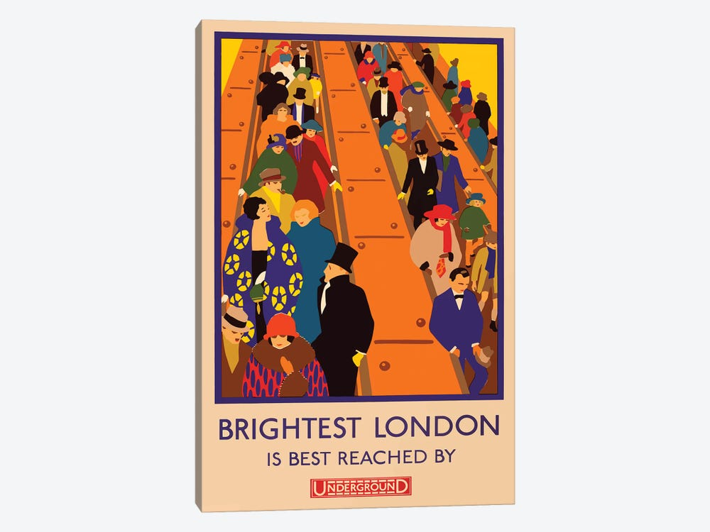London Underground, Brightest London by Vintage Apple Collection 1-piece Canvas Art