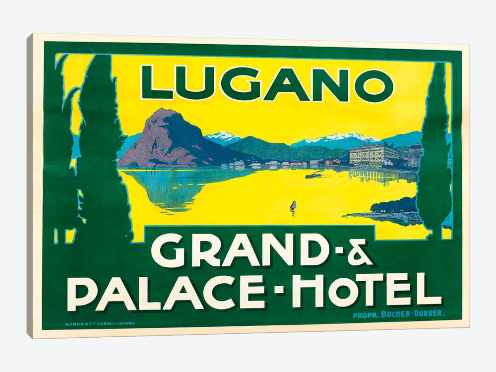 Lugano Grand & Palace Hotel by Vintage Apple Collection 1-piece Canvas Print