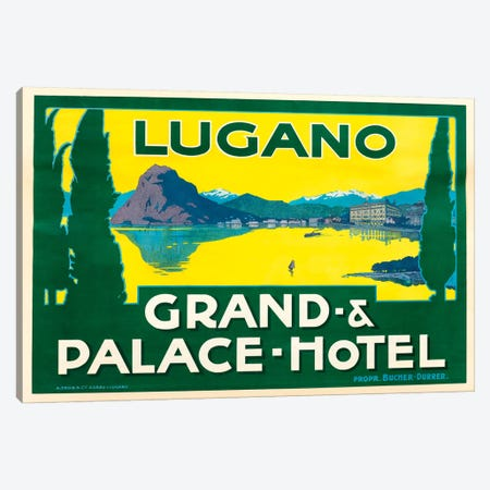 Lugano Grand & Palace Hotel Canvas Print #VAC1806} by Vintage Apple Collection Canvas Artwork
