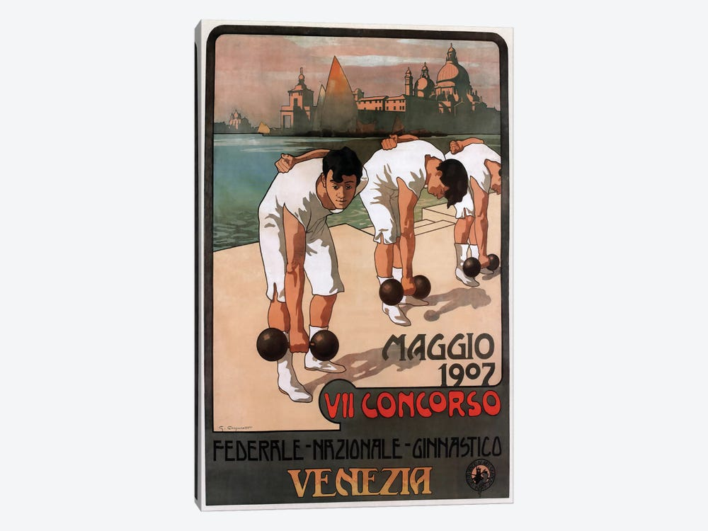 Maggio Weightlifters, Venezia, 1907 by Vintage Apple Collection 1-piece Canvas Art