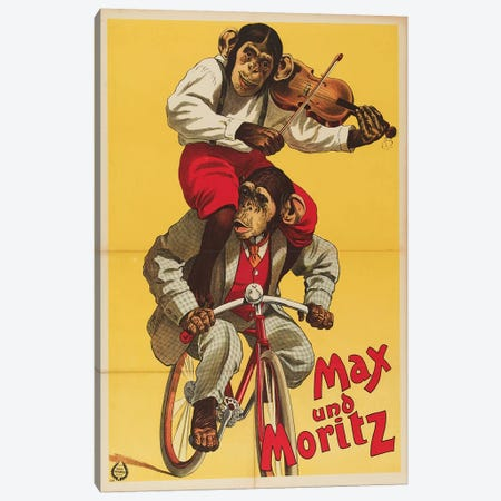 Max Und Moritz The Chimps Canvas Print #VAC1830} by Vintage Apple Collection Canvas Art