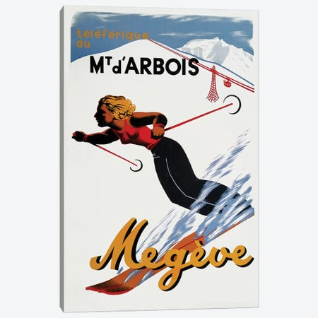 Megève Skiing Canvas Print #VAC1832} by Vintage Apple Collection Canvas Art