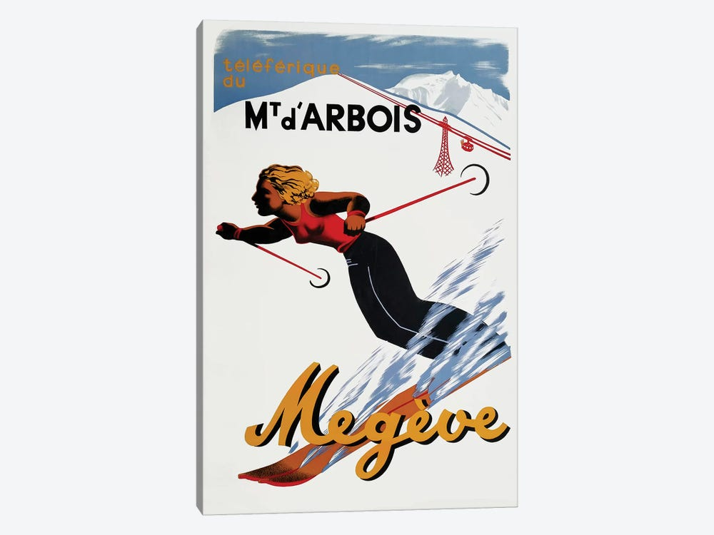 Megève Skiing 1-piece Canvas Art