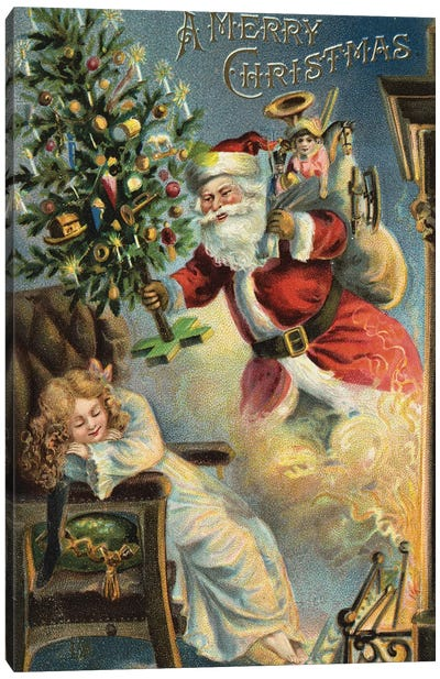 Merry Christmas Santa Canvas Art Print