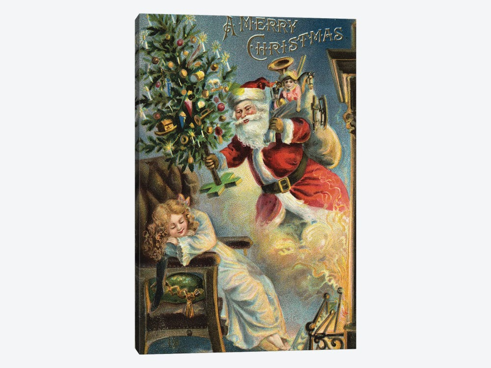 Merry Christmas Santa by Vintage Apple Collection 1-piece Canvas Art Print