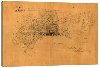 Nashville, Tennessee Map, 1860s Canvas Art Print