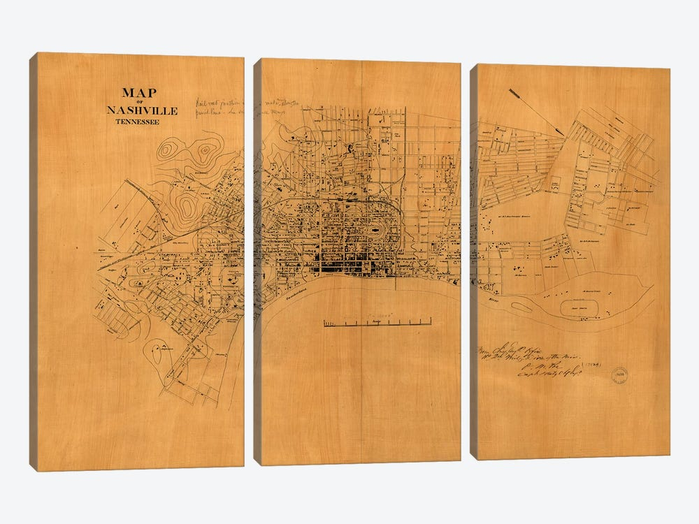 Nashville, Tennessee Map, 1860s by Vintage Apple Collection 3-piece Art Print