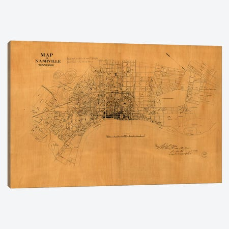 Nashville, Tennessee Map, 1860s Canvas Print #VAC1853} by Vintage Apple Collection Canvas Artwork