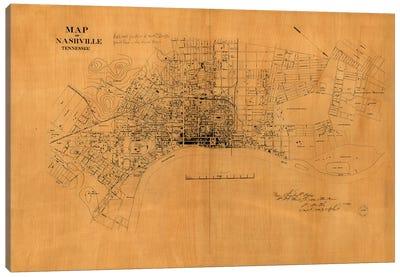 Nashville, Tennessee Map, 1860s Canvas Art Print