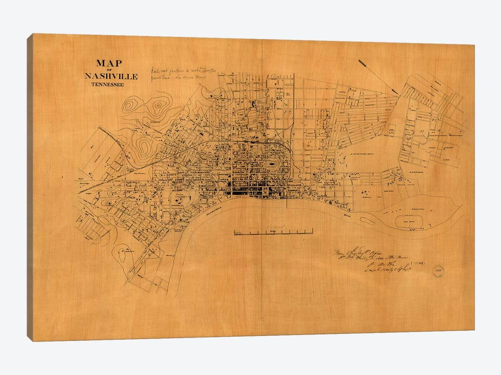 Nashville, Tennessee Map, 1860s by Vintage Apple Collection 1-piece Canvas Print