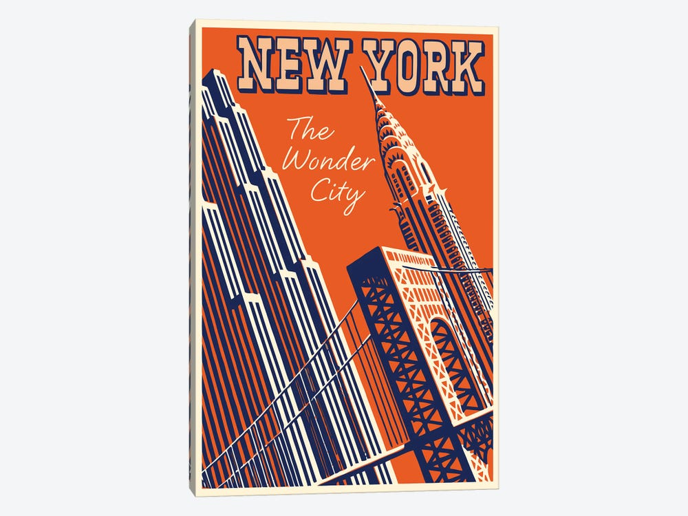 New York, The Wonder City by Vintage Apple Collection 1-piece Canvas Wall Art
