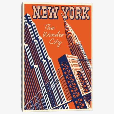 New York, The Wonder City 3-Piece Canvas #VAC1858} by Vintage Apple Collection Canvas Artwork