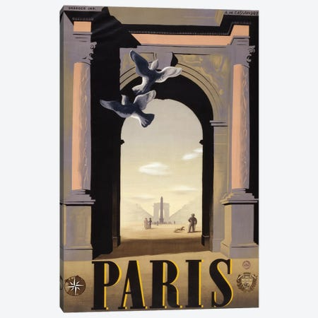 Paris Arc de Triomphe Canvas Print #VAC1892} by Vintage Apple Collection Canvas Artwork