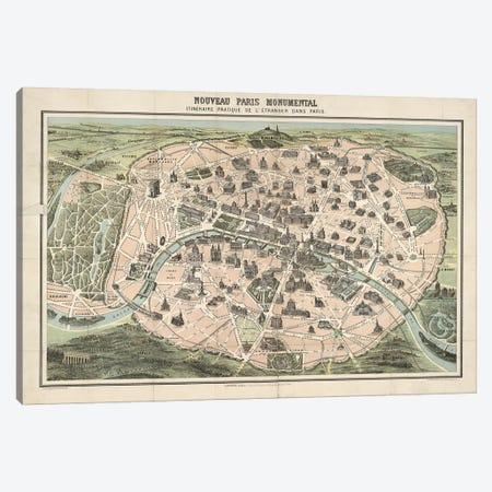 Paris Monument Map Canvas Print #VAC1896} by Vintage Apple Collection Art Print