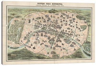 Paris Monument Map Canvas Art Print