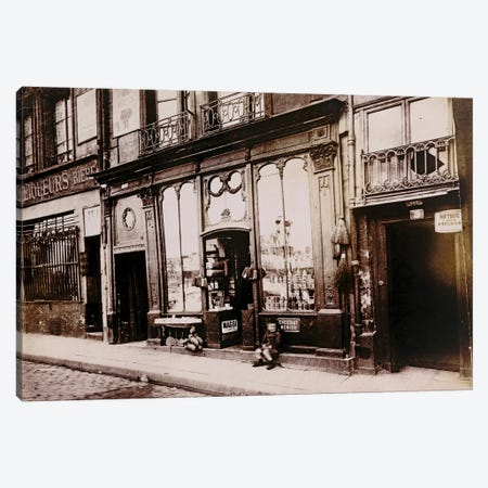 Paris Storefronts Canvas Print #VAC1898} by Vintage Apple Collection Canvas Artwork