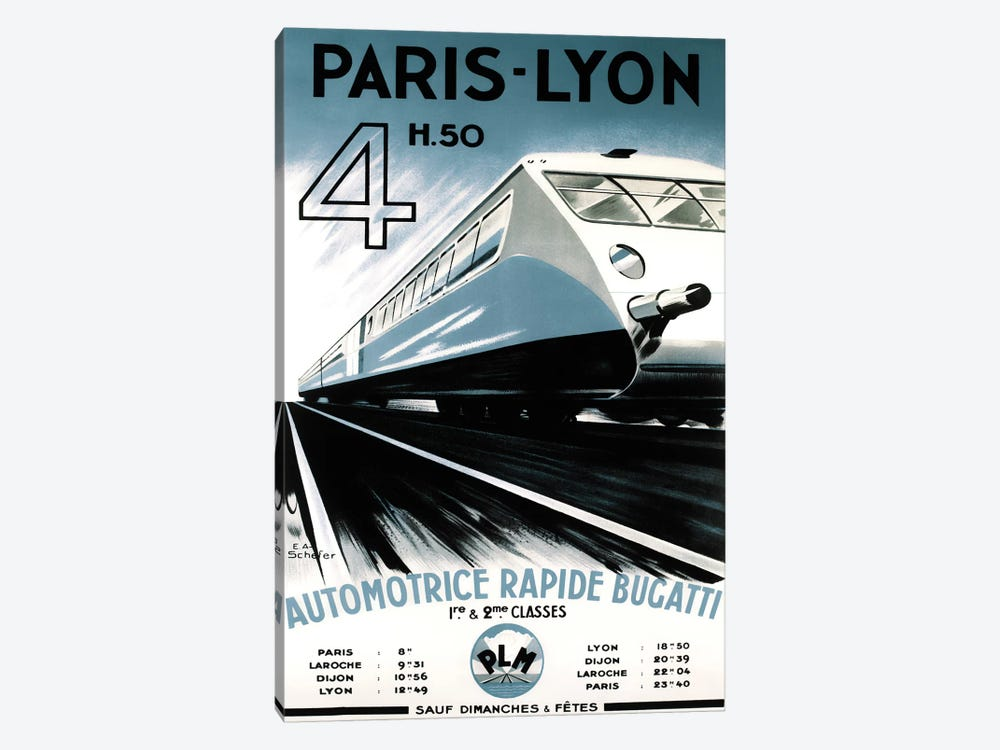 Paris-Lyon Train by Vintage Apple Collection 1-piece Canvas Art