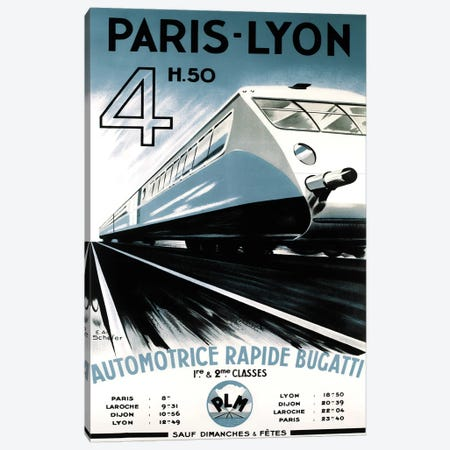 Paris-Lyon Train Canvas Print #VAC1900} by Vintage Apple Collection Canvas Artwork