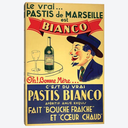 Pastis de Marseille Bianco Canvas Print #VAC1901} by Vintage Apple Collection Canvas Artwork