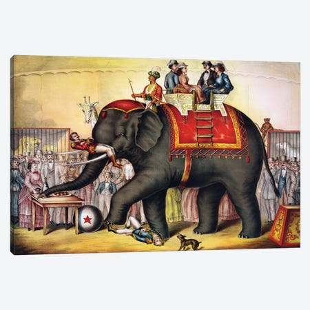 Performing Elephant, 1873 Canvas Print #VAC1907} by Vintage Apple Collection Canvas Print