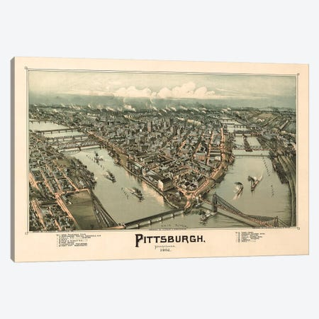 Pittsburgh, Bird's Eye View, 1902 Canvas Print #VAC1916} by Vintage Apple Collection Canvas Artwork