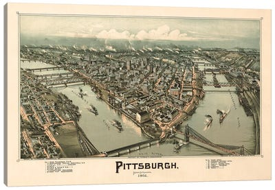 Pittsburgh, Bird's Eye View, 1902 Canvas Art Print
